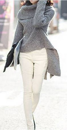 Love this Sweater! Love the Collar! Love the Hem! Dark Gray Asymmetrical Loose Knit Sweater!  #Dark #Grey #Sweater #Fashion