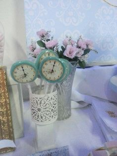 Clock lollipops at a Cinderella birthday party! See more party ideas at CatchMyParty.com!