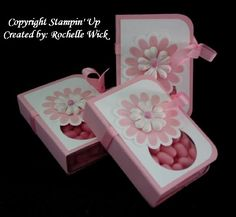 tutorial tic tac holder from stamping up Candy Crafts, 3d Paper Crafts, Craft Gifts, Diy Gifts, Craft Show Ideas, Stamping Up, Craft Fairs, Homemade Gifts, Party Favors