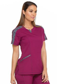Photograph of Dickies Dynamix Shaped V-Neck Top in Wine scrubs Cute Scrubs Uniform, Scrubs Outfit, Stylish Scrubs, Iranian Women Fashion, Medical Uniforms, Medical Scrubs, Costume, V Neck Tops, Plus Size Fashion
