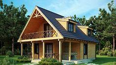 Компактный дом с мансардой, с крытой террасой и внешним камином.