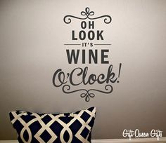 Wine O'Clock Kitchen Wall Decal - Wine - Decal - Kitchen - Home Decor - Wine Stuff - 30 Colors - FREE SHIPPING on Etsy, $9.99