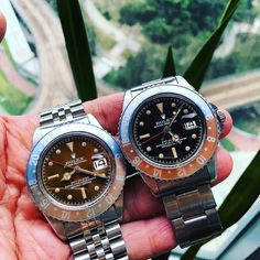 GMT duo #picoftheday #Rolex #thewatchobserver #watches #watchesofinstagram #vintagerolex #collection #instadaily