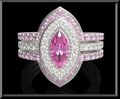 Pink Diamond Wedding Set | Pink Sapphire And Diamond Wedding Ring Set.Engagement Ring Set. Bridal ...
