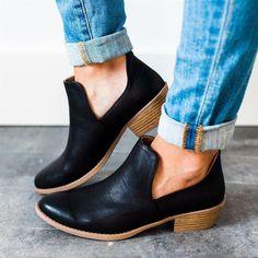 Women Cut Out Ankle Slip-On Booties Low Heel Cute Short Boots – bootspie Low Heel Boots, Low Heels, Ankle Shoes, Women's Shoes, Shoes Style, Buy Shoes, Shoes Sneakers, Style Casual, Casual Heels