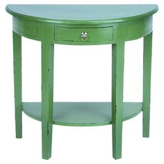 One-drawer+demilune+console+table+with+a+bottom+display+shelf+and+distressed+green+finish.    +++Product:+Console+table