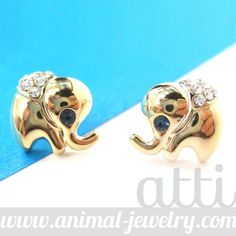 Cute and Small Elephant Animal Stud Earrings in Gold with Rhinestones $6.99 #elephants #animals #jewelry #earrings #cute