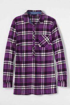 Women's Petite Flannel Tunic Top