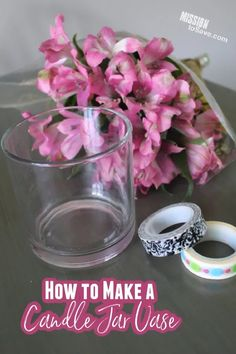 Follow this easy tutorial to make a candle jar vase flower frog. A vase frog helps make flower arrangement easier and using a repurposed candle jar is thrifty too. Clean Candle Jars, 3 Wick Candles, Diy Candles, Flower Vases, Flower Arrangement, Fun Diy Crafts, Special Flowers, Flower Frog, Do It Yourself Crafts
