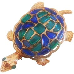 Trifari 'Modern Mosaics' Poured Glass emerald green & blue Turtle Brooch – designer 'Alfred Philippe' 1966