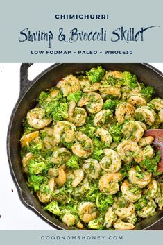"""An easy, light weeknight dinner recipe for summer or any time of year, this Low FODMAP, Paleo and Whole30 Chimichurri Shrimp and Brocolli Skillet features """"garlicy,"""" sauteed shrimp and tender-crisp broccoli covered in a zesty chimichurri sauce. #shrimpskillet #skilletrecipes #easy #weeknightdinner #lowfodmap #paleo #whole30 Shrimp And Broccoli, Fresh Broccoli, Sauteed Shrimp, Healthy Holiday Recipes, Paleo Recipes, Fish Recipes, Seafood Recipes, Snack Recipes, Paleo Cauliflower Rice"""