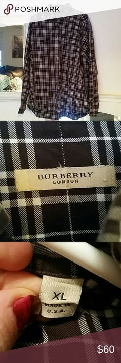 Authentic Burberry men's check cotton shirt Like new. Brown and white check Burberry men's button down. 100% cotton. Burberry Shirts Casual Button Down Shirts