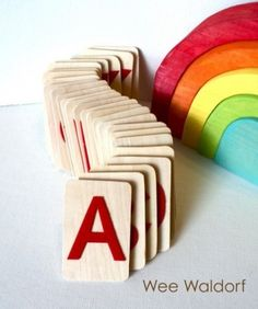 Raised Felt Alphabet On Wood Uppercase Set with Acorn Pouch by Wee Waldorf modern kids toys