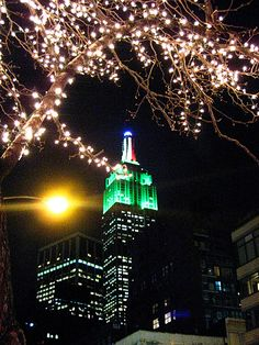 Christmas lights over the Empire State Building.