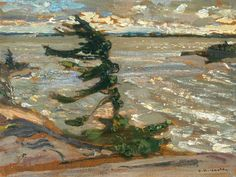 """""""Squally Weather, Georgian Bay,"""" F.H. Varley, 1920, oil on wood, 11.8 x 16.1"""", National Gallery of Canada."""
