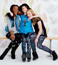 Glam squad. Chic graphics and eye catching leggings created for her inner (and outer!) fashionista.