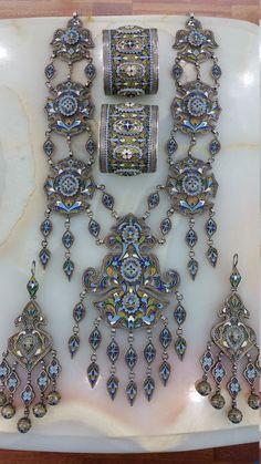 Usbekistan Stammes-Jahrgang Silber Enameld-Set von turkmenarts