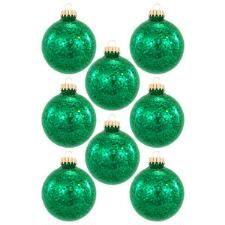 Set Of 6 Green Jellybean Spangle Glass Ornaments
