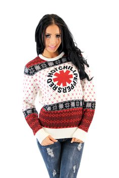 Red Hot Chili Peppers Rock Band Logo Adult White Ugly Christmas Xmas Sweater