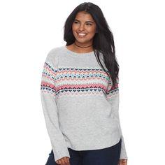 Junior's Plus Size SO® Fair Isle Mockneck Sweater, Teens, Size: 2XL, Light Grey
