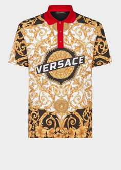 Gold Hibiscus Print Polo Shirt - print T-shirts & Polos Versace T Shirt, Versace Men, Embroidered Polo Shirts, Printed Polo Shirts, Short Sleeve Polo Shirts, Mode Man, Preppy Mens Fashion, Moda Casual, Outfits