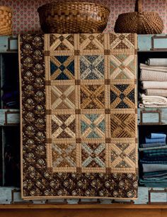 This James River Crossing quilt by Jo Morton features the charming Old Italian block design, which uses just two fabrics: one for the X and one for the background.