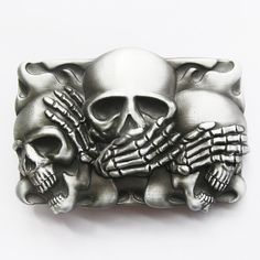Skull Belt Buckle - For Snap Leather Belt -  sterling silver plated on Etsy, $19.96