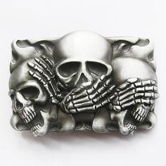 Skull Belt Buckle - For Snap Leather Belt -  sterling silver plated on Etsy, $19.96