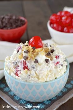 This creamy fruit salad is full of banana split toppings. It is seriously amazing!
