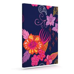 "Anneline Sophia ""Tropical Paradise"" Purple Floral Outdoor Canvas Wall Art"