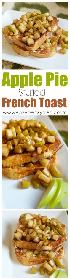 Pie French Toast A decadent breakfast food that will make you feel like you are eating dessert for breakfast! - Eazy Peazy MealzA decadent breakfast food that will make you feel like you are eating dessert for breakfast! Breakfast Items, Breakfast Recipes, Apple Recipes, Sweet Recipes, Pancakes And Waffles, The Best, Food And Drink, Cooking Recipes, Yummy Food