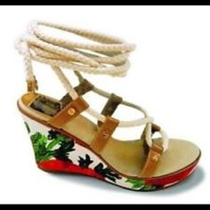 Milly Top Sider Floral Wedge Lace Up Sandals 8.5