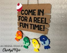 """Fishing Party """"Come in for a REEL fun time!"""" Welcome Sign - Fish & Bobber Paper Door Sign *Made to Order* Boys First Birthday Party Ideas, 1st Boy Birthday, Boy Birthday Parties, Fishing Games, Magnet Fishing, Bass Fishing, Fishing Tips, Fishing Videos, Fishing Quotes"""
