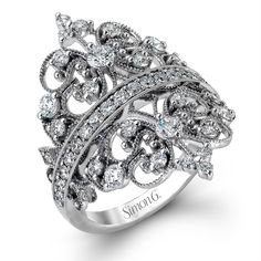 Simon G. Vintage Duchess Collection Filigree Diamond Right Hand Ring MR2389 stamford ct connecticut