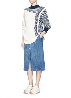 3.1 PHILLIP LIM Patchwork cable knit sweater