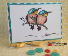 Lovebirds Love Card, SU A Happy Thing Stamp Set, Saleabration, 2015 Occasions, SU Hello Life Stamp Set