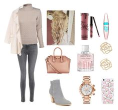 """""""Untitled #83"""" by theplanner101 on Polyvore featuring J Brand, Luigi Baldo, Donald J Pliner, Givenchy, Kylie Cosmetics, Maybelline, Jimmy Choo, Charlotte Russe and Versace"""
