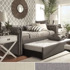 SIGNAL HILLS Knightsbridge Tufted Scroll Arm Chesterfield Daybed trundle - idea for guest bedroom and study combination Daybed Room, Daybed With Trundle, Sofa Bed, Upholstered Daybed, Sleeper Couch, Ikea Daybed, Queen Daybed, Daybed Bedding, Tufted Couch