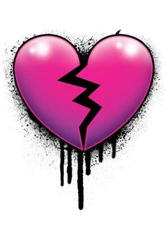Broken Heart Tattoo - Pink and Black Temporary Tattoo