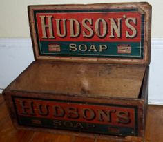 Antique Advertising Box Paper Lithos Hudson's Soap Lidded Nice! Aafa 1800s