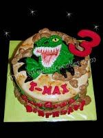 T-Rex Dinosaur Themed Birthday Cake