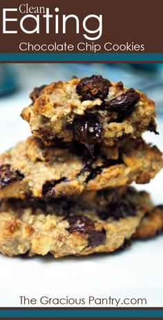 Clean Eating Chocolate Chip Cookies #cleaneating #eatclean #cleaneatingrecipes #dudefood