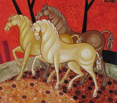 Link leads to enlarged photos able to see details of painting technique Painting Process, Painting Techniques, Painting & Drawing, Byzantine Icons, Byzantine Art, Horse Illustration, Orthodox Icons, Equine Art, Sacred Art