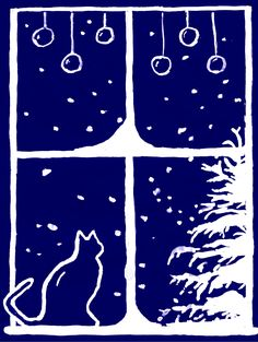 Christmas card with cat and christmas tree Christmas card with cat and christmas tree Linocut Prints, Art Prints, Block Prints, Round Robin, Winter Illustration, Linoprint, Christmas Cats, Making Ideas, Illustrations