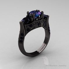 Nature Inspired 14K Black Gold Three Stone Russian Chrisoberyl Alexandrite Black Diamond Solitaire Wedding Ring Y230-14KBGBDAL. $2,899.00, via Etsy.