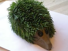 Hedgehog made from leftovers from the xmas tree