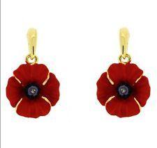 Beautiful Gold & Red Rhinestones Poppy Flower Symbolic Drop Earrings E876