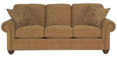 Broyhill Furniture Choices Upholstery 87 Inch Standard Sofa with Panel Arm, Round Knife Edge Semi-Attached Back & Turned Leg Base - Turk Furniture - Sofa Joliet, Champaign, Bolingbrook, La Salle, Kankakee, Naperville, Aurora, Plainfield, Morris