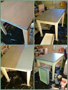 HJERTEHJORT: ReDesign av et Gammelt Bord! ReDesign of an old Kitchen Table. Beautiful!