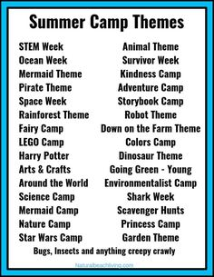 Summer Camp Themes – The Best Summer Themes for Kids – Natural Beach Living - Camping Ideas Camping Ideas, Camping Activites For Kids, Preschool Summer Camp, Summer Camp Themes, Summer Day Camp, Summer Camp Activities, Ocean Activities, Summer Camps For Kids, Camping Theme